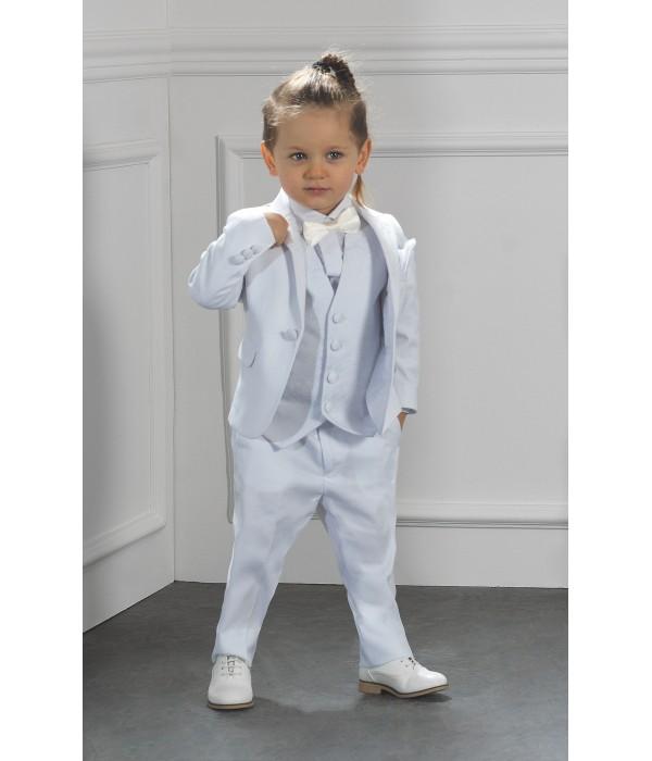 Costume de Baptême Garçon Blanc   Hugo